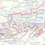 Area considered prospective for gas-mature Carboniferous shale (in red, holes within the extent are dashed), Midland Valley of Scotland in relation to the urban areas of central Scotland. Contains Ordnance Survey data ©Crown copyright 2014.