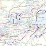 Area considered prospective for oil-mature Carboniferous shale (in blue), Midland Valley of Scotland. Contains Ordnance Survey data ©Crown copyright 2014.