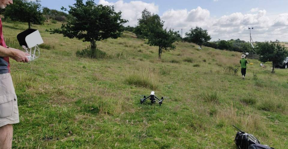 Rotary drone used to make 3D models of the Hollin Hill landslide observatory in Yorkshire (2019)
