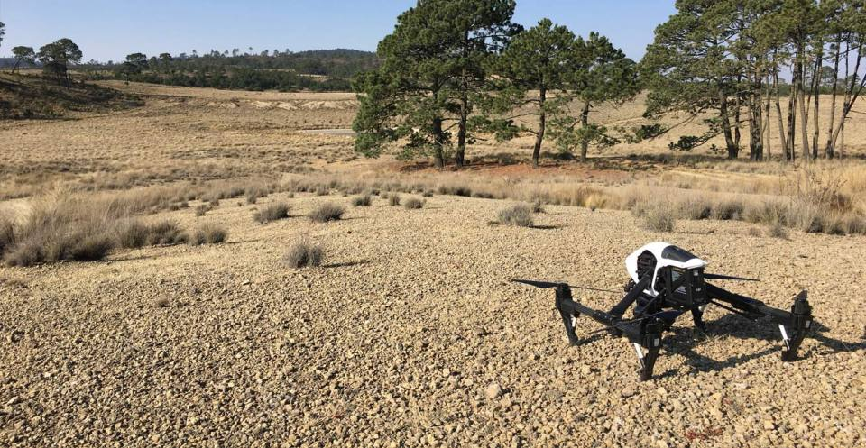 Rotary drone ready for take-off in Mexico