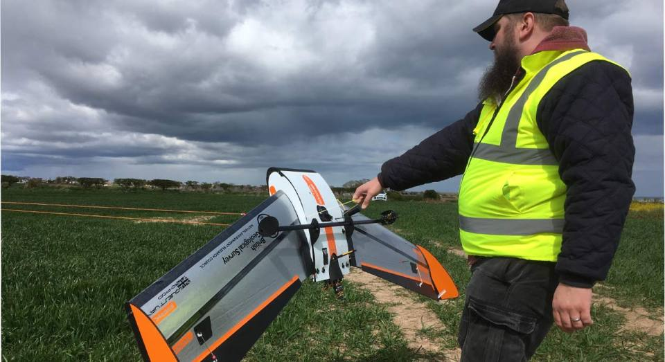 Fixed wing gas detection drone