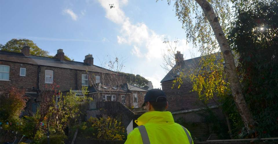 Rapid Response drone flight to build a 3D model of a sinkhole behind a terrace of houses in Ripon, Yorkshire.