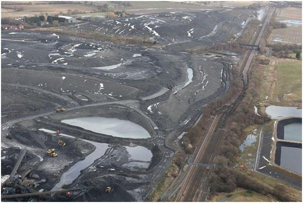 Railway deformation at Hatfield Colliery landslide. Photo: 14 February 2013 ©Network Rail.
