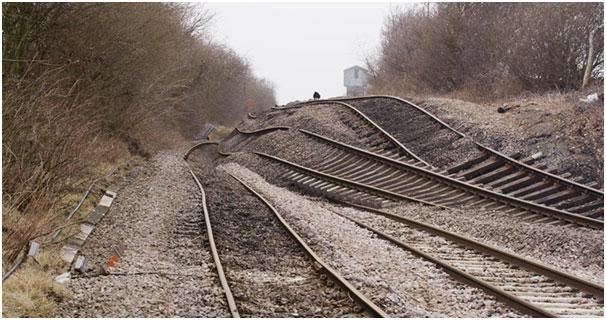 Railway deformation at Hatfield Colliery landslide. Photo: 26 February 2013 ©Network Rail.