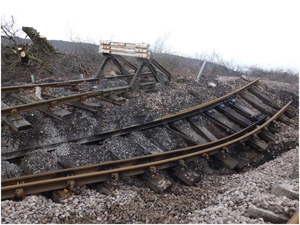 Railway deformation at Hatfield Colliery landslide. Photo taken on 7 March 2013 ((c) Network Rail).