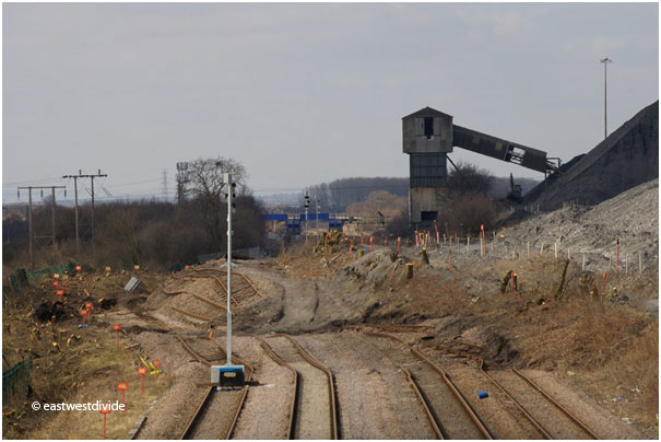 Photo provided by eastwestdivide and taken on 6th April from the bridleway bridge to the northeast of the site (now only accessible from the south side) showing vegetation clearance and providing an indication of displacement magnitude.