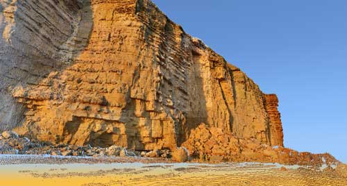 3D image of failed cliff at Burton Bradstock generated from a LiDAR, laser scanner, survey undertaken by BGS.