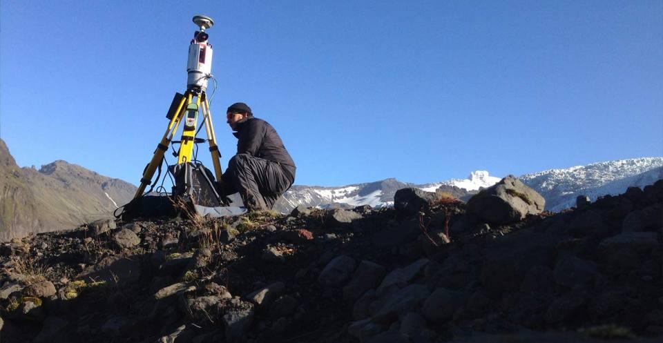 Surveying glacial foreland, Iceland