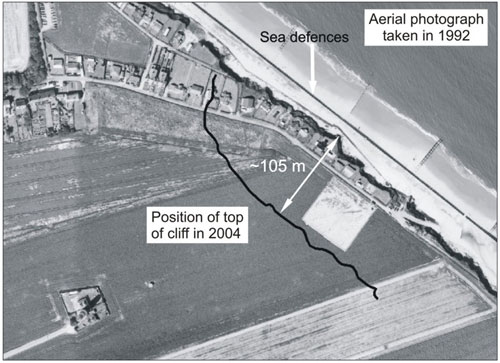 Figure 2 Cliff top position in 2004 — this had retreated a further 20 metres in 2007. 1992 aerial photograph © Environment Agency, reproduced with kind permission of the Shoreline Management Group, (Anglian Region).