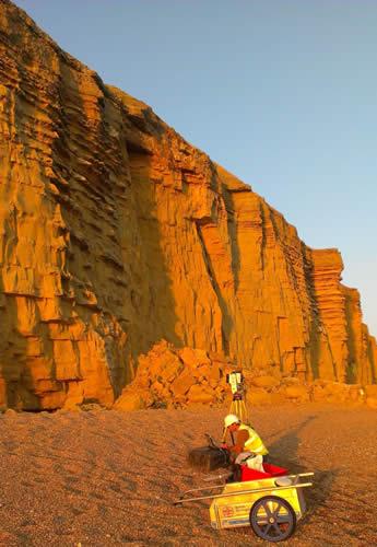 The BGS Landslide Response Team carry out a LiDAR survey of the Burton Bradstock rock fall landslide of 24 July 2012.