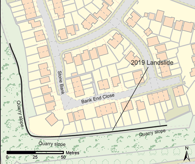 Map showing locations of Bank End Close and Stone Bank and the approximate position of the 25-metre high disused quarry slope. Contains Ordnance Data © Crown Copyright and database rights 2019. Ordnance Survey Licence no. 100021290.