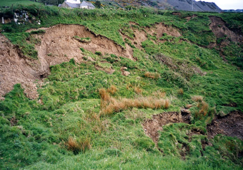 Shallow failures in the cliff top of Nefyn Bay.