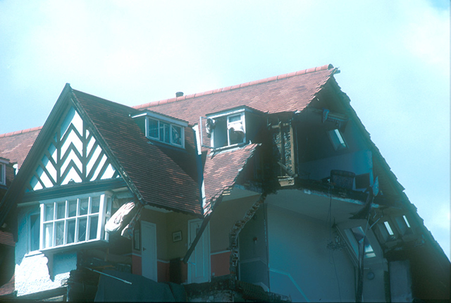 Damage to the roof.