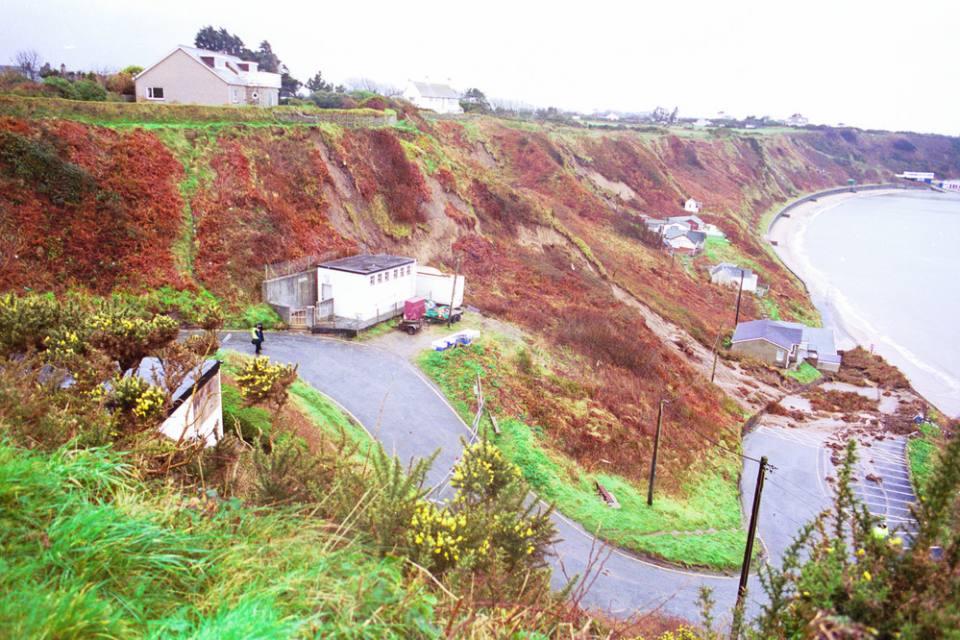 Scene of the Nefyn Bay fatal landslide of January 2001.