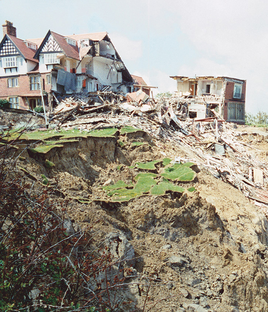 Top of the landslide showing damage to the Holbeck Hall Hotel.