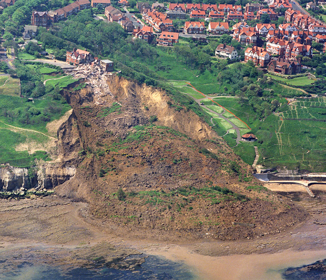 Holbeck Hall landslide from the air.