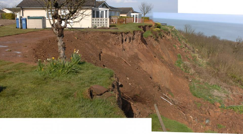 Merged photographs showing head of the landslide at Knipe Point. Two bungalows occupied the flat ground on the left of the photograph before being demolished.