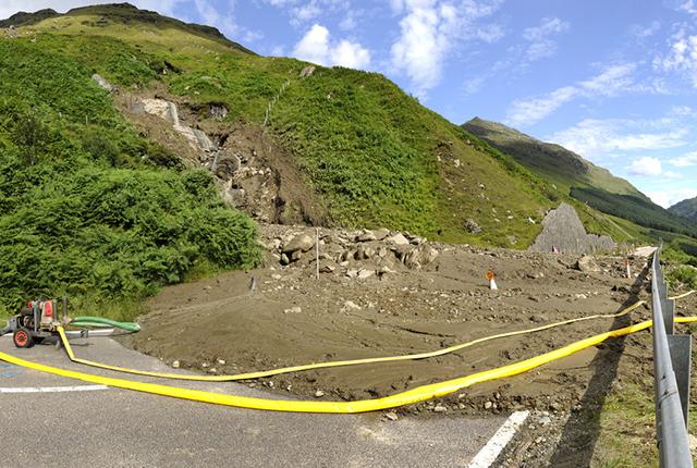 Landslide debris blocking the A83, August 2012.