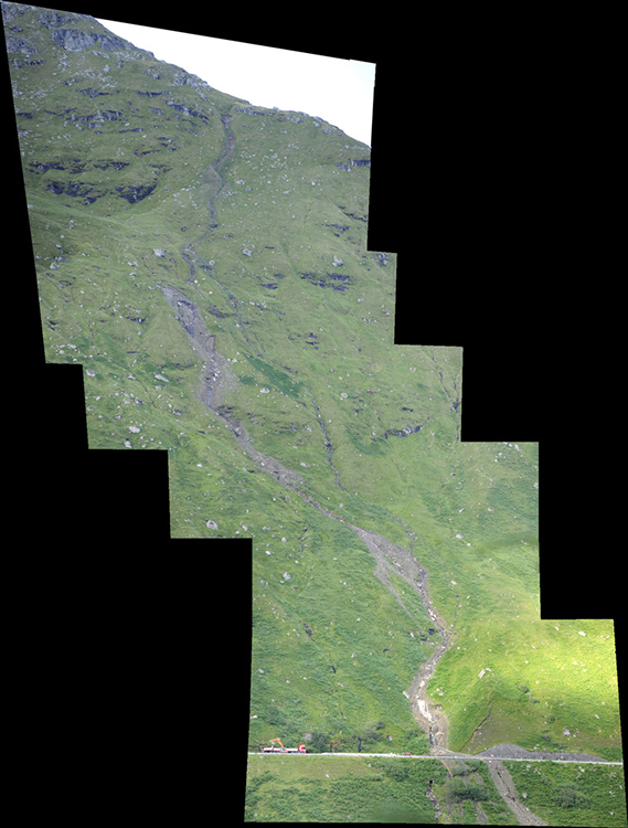 Composite photograph of the Rest and Be Thankful landslide, 2012.