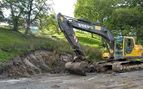Remediation work taking place at the landslide site at map location 1 west of Blubberhouses.