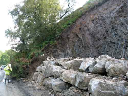 The completed remediation work at the landslide site at map location 2 west of Blubberhouses.