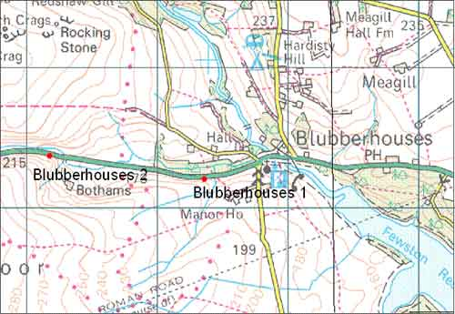 Blubberhouses. Approximate locations of the landslides. Topography © Crown Copyright. All rights reserved. BGS 10007897/210