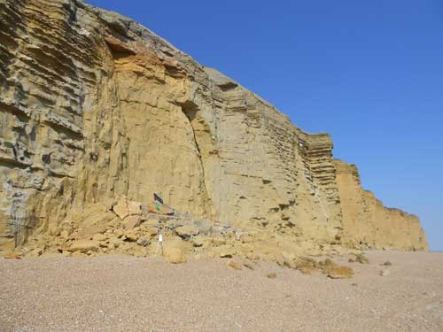 The 24th July rock fall at Burton Bradstock is a tragic reminder that the UK coastline is a dynamic and constantly changing part of our natural environment. Taken 25 July 2012.