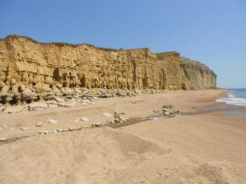The yellow sandstone cliffs between Freshwater Bay and Hive Beach that are shaped by erosion processes, including landslides. Taken 25 July 2012.