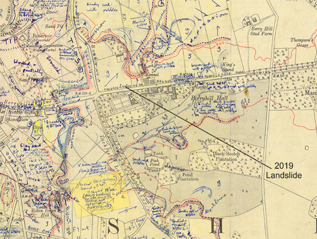 1954 field slip showing mapped extent (red and blue hatched line) and composition (highlighted in yellow box) of the Glaciofluvial Deposits. © BGS