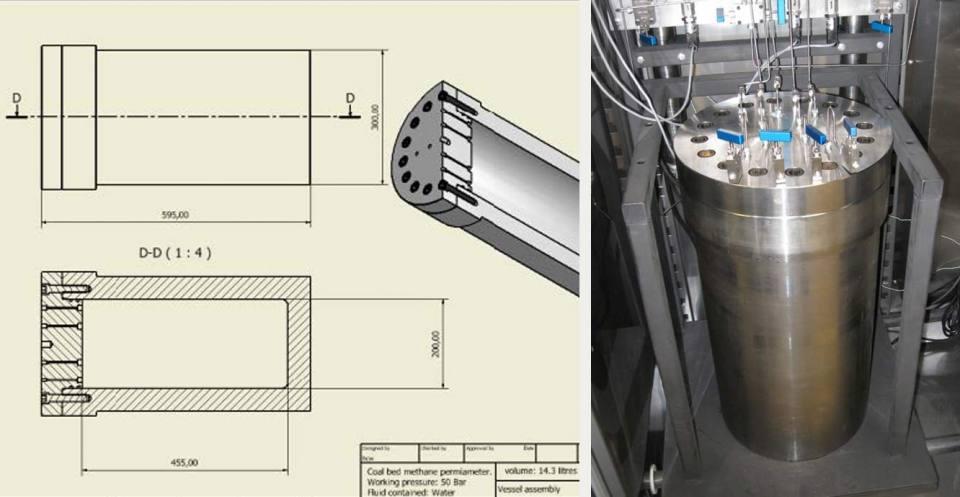 Coal bed methane permeameter design