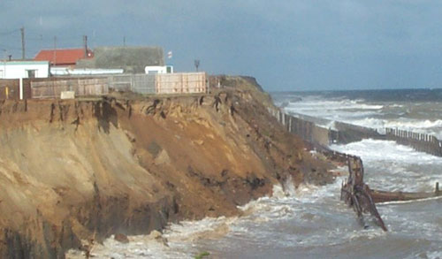 Landsliding due to toe removal at Happisburgh.