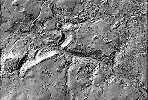 Figure 3 Hillshade relief map taken from NEXTMap Britain elevation data from Intermap Technologies.