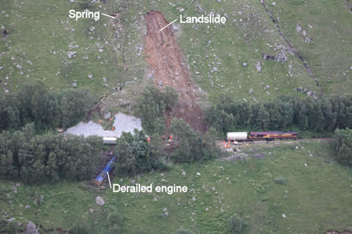 The landslide by Loch Treig, Argyll and Bute. Also seen is remedial work to a wall above the track carried out in 2010 (white rock armour above the blue derailed train). Photograph used with permission of Route Asset Manager, Geotechnics Scotland.