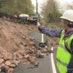 Dr Helen Reeves of the Landslide Response Team investigating the landslide along the B6344, East of Rothbury, Northumberland.