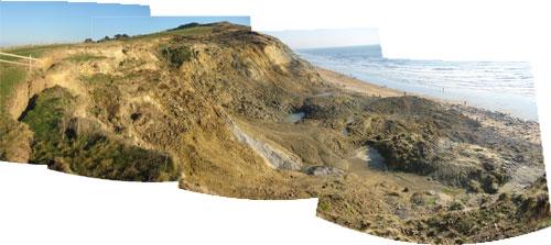 Panorama of landslide looking eastwards.