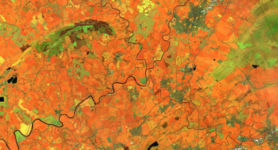 Clitheroe satellite image from Sentinal data