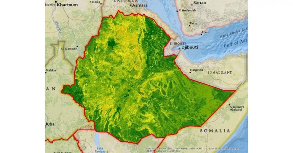 Landslide susceptibility map of Ethiopia, produced for the World Bank national risk profile (2016)