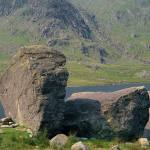 Erratic perched blocks at the side of Llyn Idwal.
