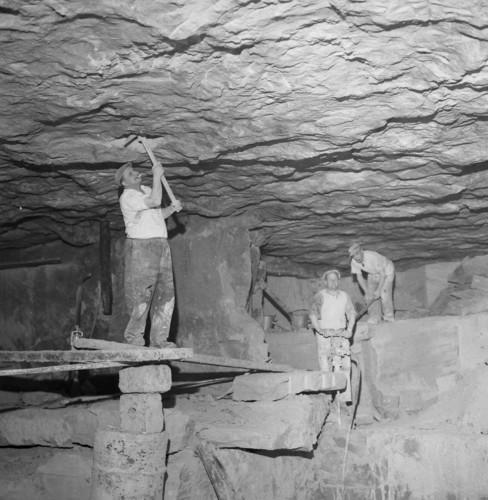Miners working on Bath Stone near Corsham Wiltshire