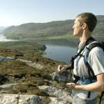 Geologist using field tablet