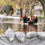 Flood Protection Sandbags with flooded homes in the background. Photo credit Marc Bruxelle.