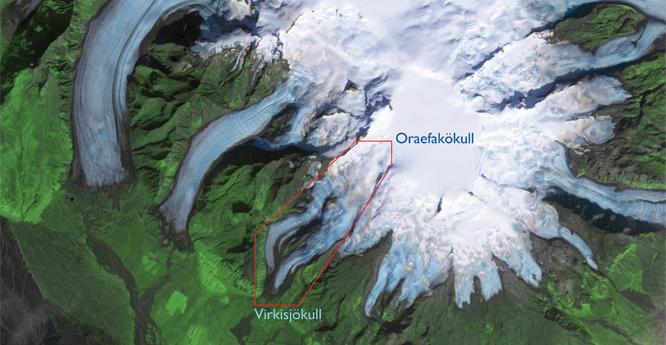 Satellite image of Virkisjokull and Oreaeofakokull