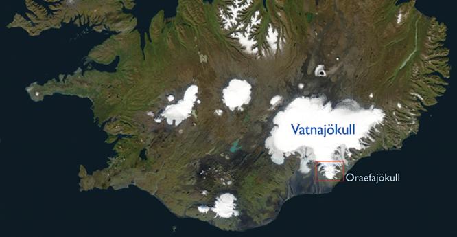 Satellite image of Vatnajokull, Iceland