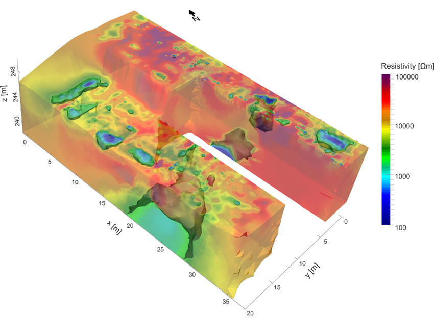 3D electrical resistivity tomography model showing major cavities and discontinuities within a marble deposit in northern Italy.