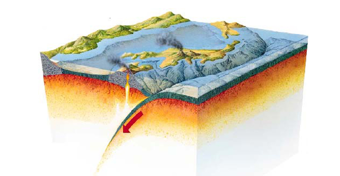 A convergent plate boundary showing the subduction of an oceanic plate