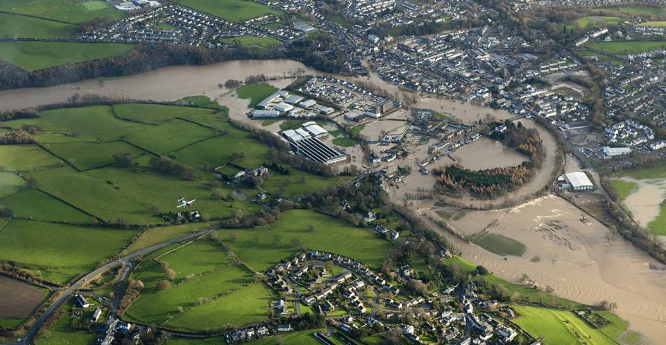 Aerial views of flooding in the Cumbria area, November 2009.