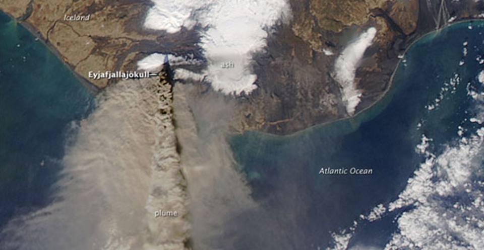 Eyjafjallajökull volcano ash plume, 2010