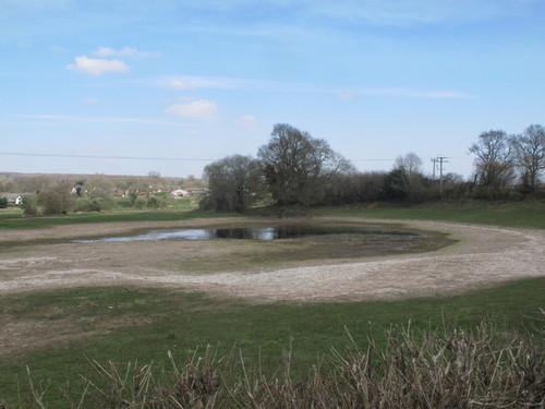 A sinkhole in a field with a pool of water at the surface