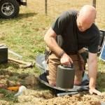 BGS scientist installing seismometers in Surrey, UK