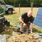 Two BGS scientists installing seismometers in Surrey